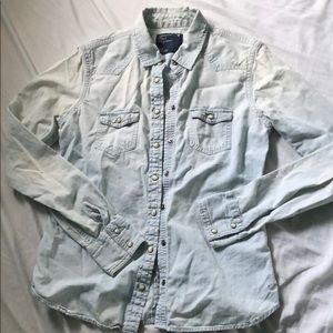chambray denim button up top